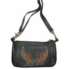 Ladies Clip Bag W/Wing Brown