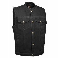 Men's Snap Fr Denim Vest W/Gun