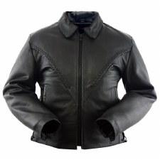Ladies Braided Leather Jacket