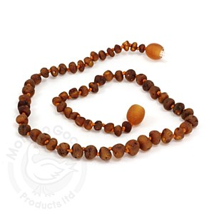 Baltic Amber Baby Necklace Med Raw Baroque Cognac