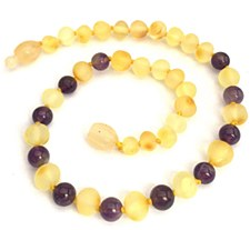 Baltic Amber Baby Necklace Sm Raw Lemon Color/Amethyst
