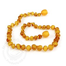 "Baltic Amber Baby Necklace 15"" Raw Baroque Beads Honey"