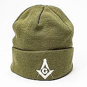 Olive Green Winter Cap with Square and Compass