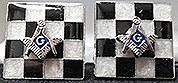 MasonicTiled Cuff Links in Silvertone