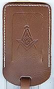 Masonic Luggage Tag in Brown Leather