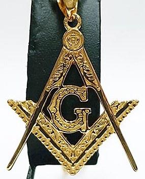 Masonic gold tone necklace