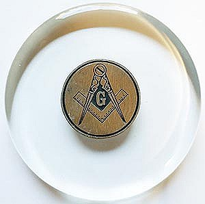 Glass Paperweight with Pewter Square and Compass emblem