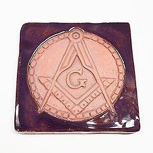 Square & Compass Tile with Purple Glaze