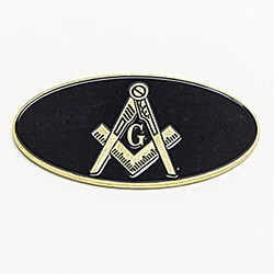 Oval Blue Lodge Auto Emblem in Black