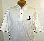 White Pique Golf Shirt with Square & Compass Medium
