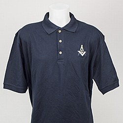 Navy Golf Shirt with Square & Compass M