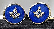 Round Masonic Cuff Links in Blue and Goldtone