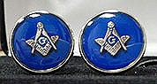 Round Masonic Cuff Links in Blue and Silvertone