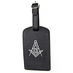 Masonic Luggage Tag in Black Leather