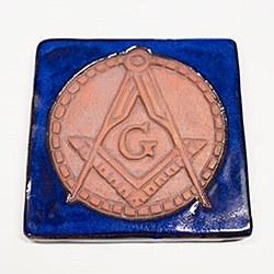 Square & Compass Tile with Blue Glaze