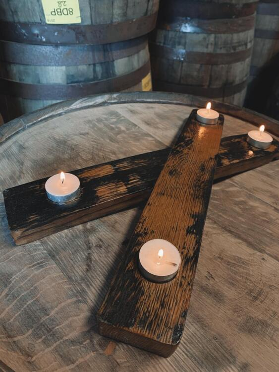 Handcrafted 2 Stave X Candle Holder