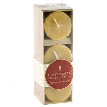"""Honey Candles 100% pure Beeswax 2"""" Votives 3 pack"""