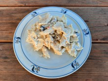 Pasta salad with a creamy asiago dressing.