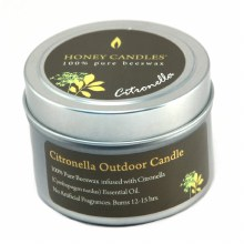 Honey Candles 100% Pure Beeswax Citronella Outdoor Candle 3 oz