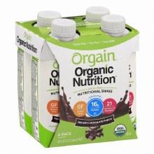 Orgain Organic Chocolate Fudge Nutritional Shakes 4/11 oz