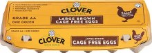 Clover Cage Free Large Brown Eggs 1 Dozen
