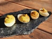Six classic deviled eggs.