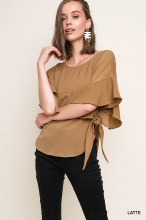FLOWY SLEEVE TOP WITH SIDE TIE DETAIL