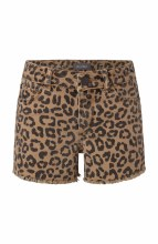 LEOPARD CUTOFF SHORT 7 TAN