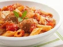 Meat Balls with Penne and our own Tomato Sauce