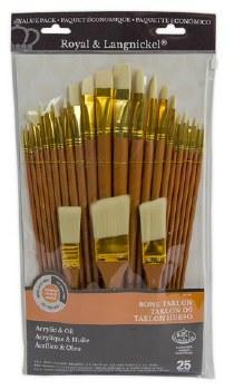 Royal Brush Zip N' Close Firm Bone Taklon Paint Brush Set of 25
