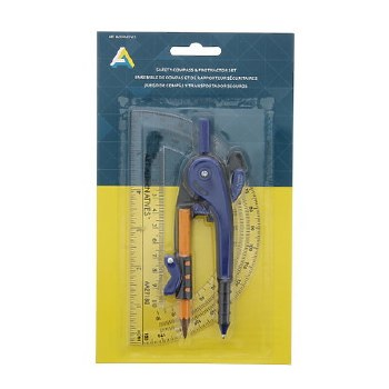 Safety Compass & Protractor Set, 2 Pieces