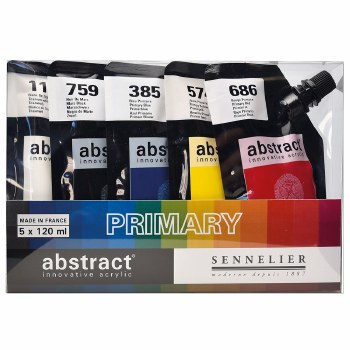 Abstract Acrylic Sets, Primary Set of 5 (Titanium White, Primary Blue, Primary Red, Primary Yellow and Mars Black)