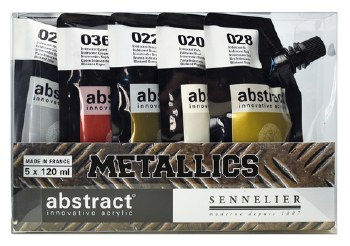 Abstract Metallic Acrylic Sets, Set of 5