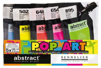 Abstract Acrylic Sets, Fluorescent Color Set of 5 (Fluorescent Blue, Fluorescent Yellow, Fluorescent Orange, Fluorescent Pink and Fluorescent Green)