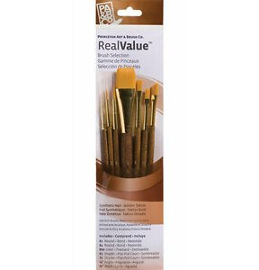 Real Value 7 Brush Golden Taklon Brush Set