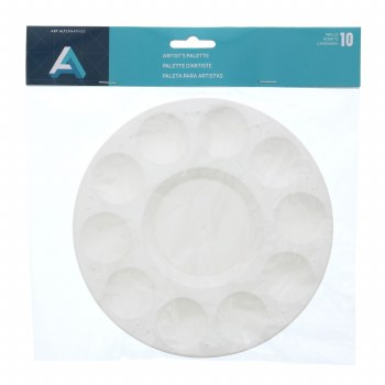 Water/Paint Tray, White Plastic 10 Well Round
