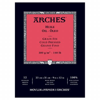 Arches Oil Paper Pads, Cold-Pressed, 140lb, 9 in. x 12 in.