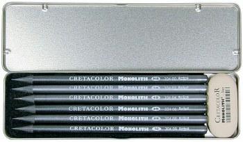 Monolith Graphite 6-Piece Set & Eraser, 6 Pc./Set - Graphite & Eraser, Tin Box
