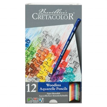 Aqua Monolith Woodless Watercolor Pencil Sets, 12-Color Set