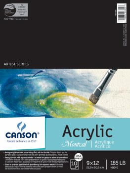 Canson Montval Acrylic Paper, 9 in. x 12 in. Pad - 10 Shts./Pad