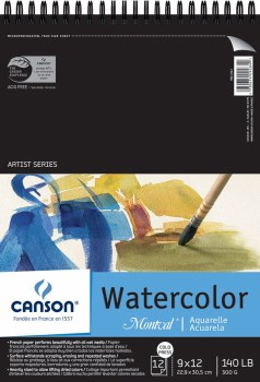 Canson Montval Watercolor Pads, Top Spiral-Bound Pads (12 Sheets), 5-1/2 in. x 8.5 in.