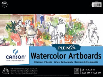 Canson Plein Air Watercolor Artboard Pads, 12 in. x 16 in. - 10 Shts./Pad