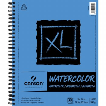 Canson XL Watercolor Pads, 9 in. x 12 in. - Side Wire-Bound - 30 Shts./Pad
