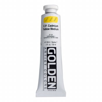 Golden Heavy Body Acrylics, 2 oz, Cadmium Yellow Medium