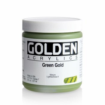 Golden Heavy Body Acrylics, 8 oz Jars, Green Gold