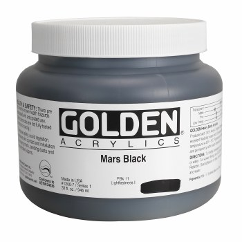 Golden Heavy Body Acrylics, Quart Jars, Mars Black