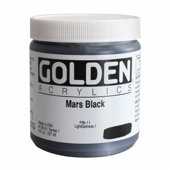 Golden Heavy Body Acrylics, 8 oz Jars, Mars Black