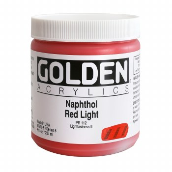 Golden Heavy Body Acrylics, 8 oz Jars, Naphthol Red Light