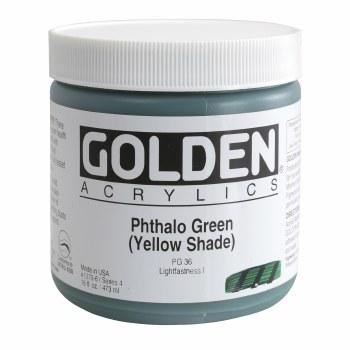 Golden Heavy Body Acrylics, Pint Jars, Pthalo Green/Yellow Shade