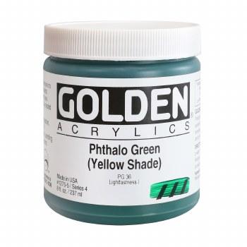 Golden Heavy Body Acrylics, 8 oz Jars, Pthalo Green/Yellow Shade
